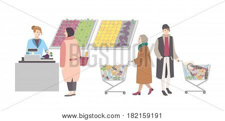 Concept for supermarket or shop. Different people with shopping cart weighed goods in vegetable department. Girl weighs purchases. Colorful flat vector illustration