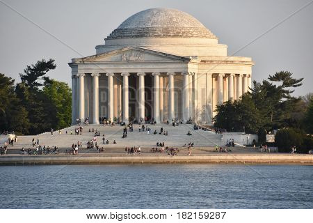WASHINGTON, DC - APR 14: Thomas Jefferson Memorial in Washington, DC, as seen on April 14, 2017. Construction of the building began in 1939 and was completed in 1943. The bronze statue of Jefferson was added in 1947.