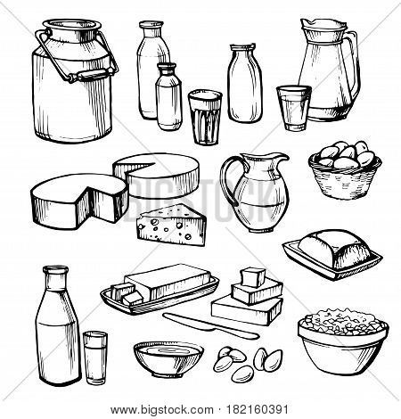 Milk and farm product. Set of hand drawn vector elements.