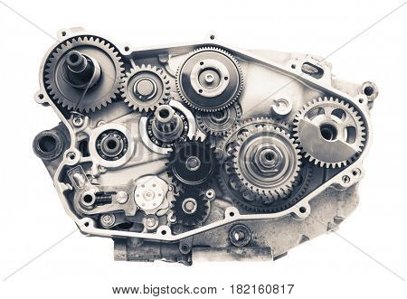 engine cross section with gear wheels, isolated on white