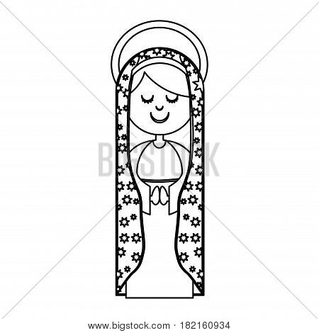 monochrome contour of virgin of guadalupe with aura vector illustration
