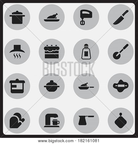 Set Of 16 Editable Meal Icons. Includes Symbols Such As Agitator, Dough, Cookware And More. Can Be Used For Web, Mobile, UI And Infographic Design.
