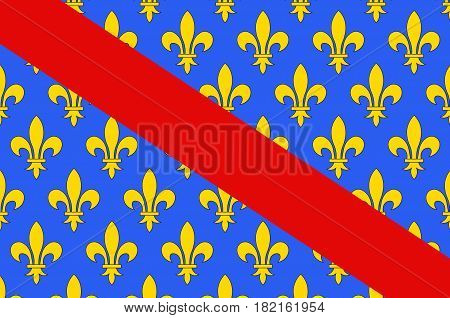 Flag of Allier is a French department located in the Auvergne-Rhone-Alpes region of central France