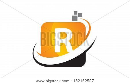 This vector describe about Technology Motion Synergy Letter R