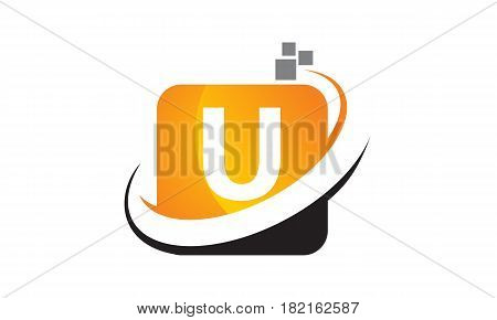 This vector describe about Technology Motion Synergy Letter U