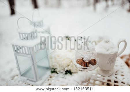 Picnic in the winter forest. Metal forged table and plaid plaids.