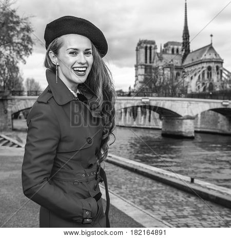Tourist Woman In Paris, France Having Walking Tour