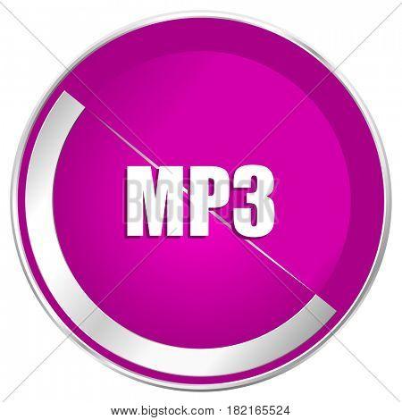 Mp3 web design violet silver metallic border internet icon.