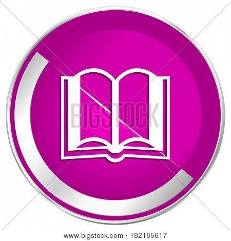 Book web design violet silver metallic border internet icon.