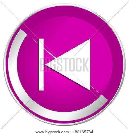 Prev web design violet silver metallic border internet icon.