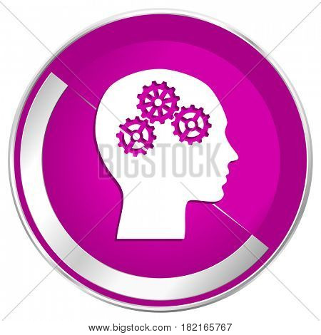 Head web design violet silver metallic border internet icon.