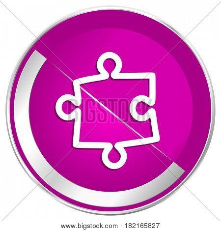 Puzzle web design violet silver metallic border internet icon.