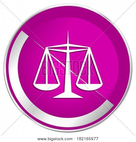 Justice web design violet silver metallic border internet icon.
