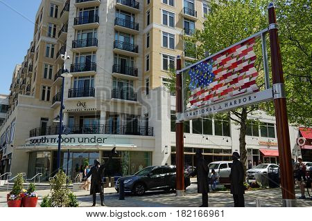 OXON HILL, MD - APR 16: Welcome to the American Way at National Harbor in Oxon Hill, MD, as seen on April 16, 2017. National Harbor originated as a 300-acre multi-use waterfront development.