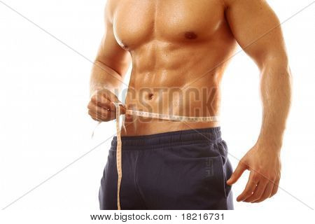 Man, measurement tape