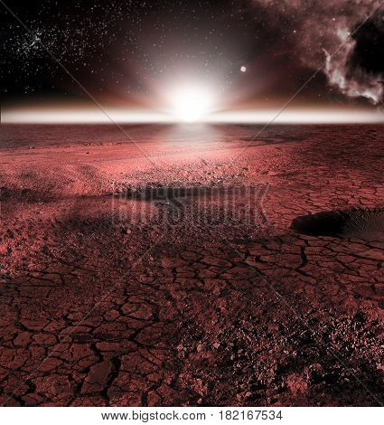 The abstract red landscape of Mars planet. Looks like cold desert on Mars with stars