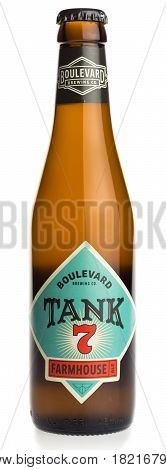 GRONINGEN, NETHERLANDS - APRIL 15, 2017: Bottle of American Boulevard Tank 7 Farmhouse ale craft beer isolated on a white background