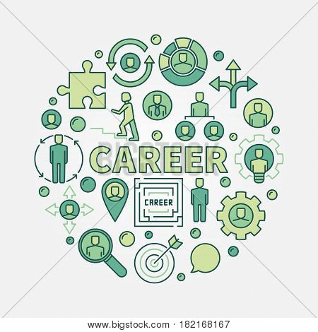 Career opportunities colorful illustration. Vector round symbol made with business icons and word CAREER