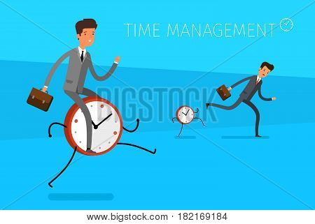 Time management concept. Businessman riding on the clock and Businessman running away from watches. Flat design, vector illustration.