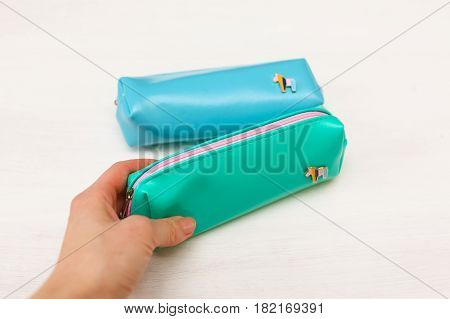 Blue and turquoise pencil case with pony on white background