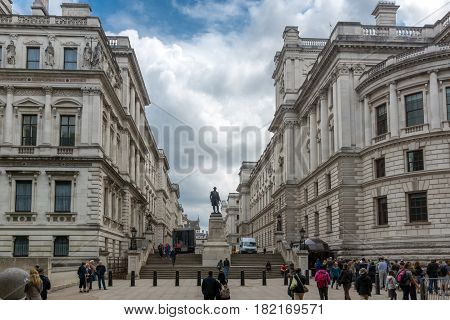 LONDON, ENGLAND - JUNE 17 2016: Churchill War Rooms and Robert Clive Memorial seen from King Charles street in London, England, Great Britain