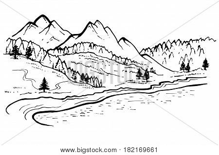 Mountain Landscape, forest pine trees sketch. Hand drawn vector Illustration.