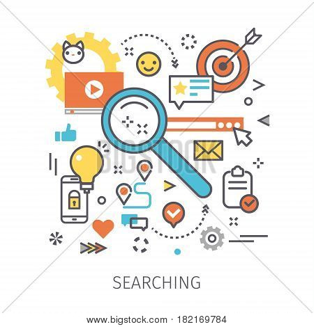 Concept of searching and content analyzing. Magnifying glass with icons in the style of line art. Flat design, lineart vector illustration