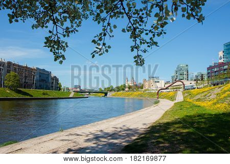 Embankment Of Neris River In Vilnius, Lithuania