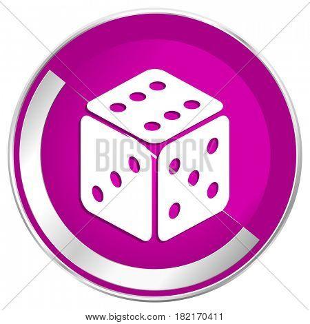 Game web design violet silver metallic border internet icon.