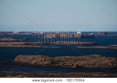 archipelago groups of islands on blue ocean with clear sky