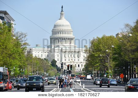 WASHINGTON, DC - APR 15: The US Capitol in Washington, DC, as seen on April 15, 2017. It is the home of the United States Congress, and the seat of the legislative branch of the US federal government.
