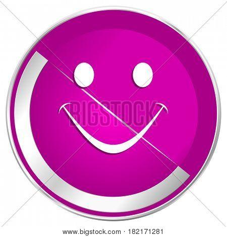 Smile web design violet silver metallic border internet icon.