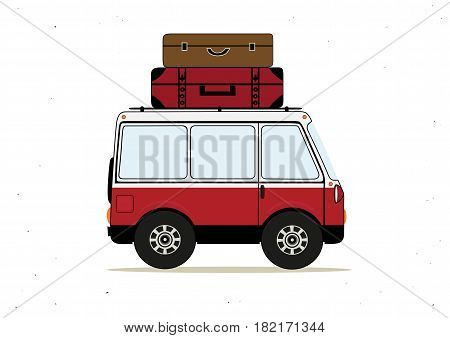 Vector illustration with cartoon red minibus with suitcases