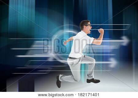 Geeky happy businessman running mid air against blue light wave over skyscrapers