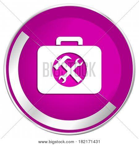 Toolkit web design violet silver metallic border internet icon.
