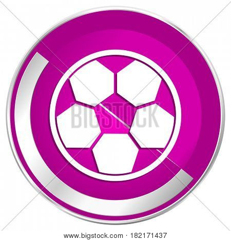 Soccer web design violet silver metallic border internet icon.