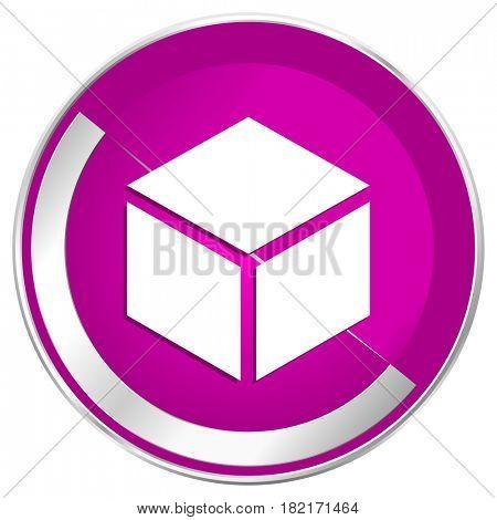 Box web design violet silver metallic border internet icon.