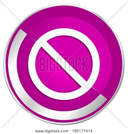 Access denied web design violet silver metallic border internet icon.