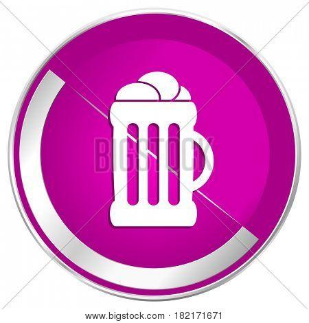 Beer web design violet silver metallic border internet icon.