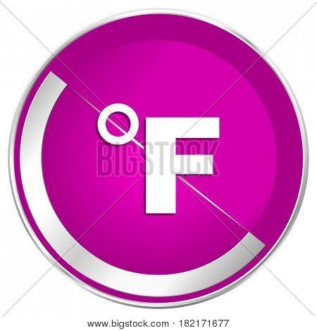 Fahrenheit web design violet silver metallic border internet icon.