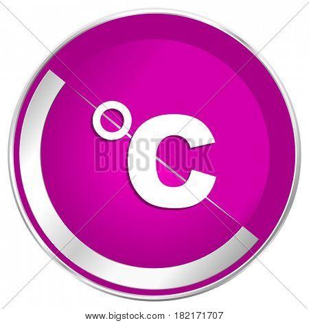 Celsius web design violet silver metallic border internet icon.