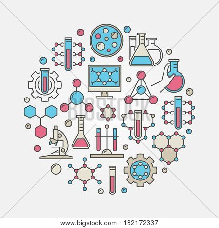 Chemical round illustration - vector creative colored sign made with chemical equipment and formulas