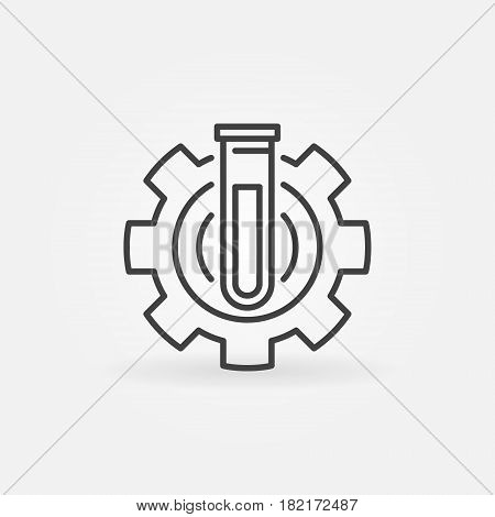 Test tube in gear icon. Vector chemical lab abstract concept symbol in thin line style