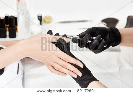 Professional manicurist in black gloves provides service to client making manicure with manicure cuticle trimmer.