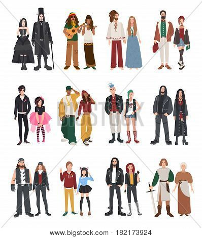 Set of different subculture. Couple rapper, hipster, punk, rocker, hippie, goth, emo, historical reenactors, metalhead, biker rastaman Girl and guy in flat style illustration collection
