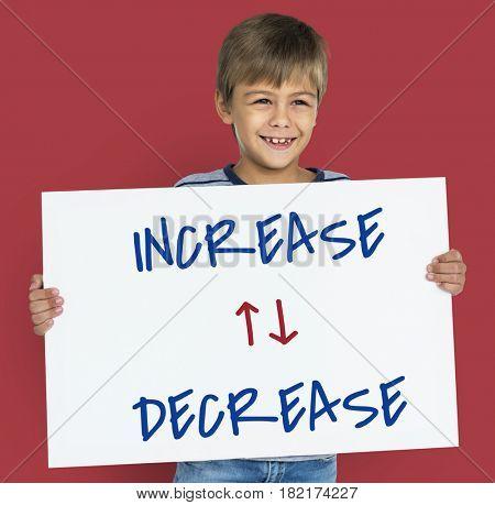 Little boy opposite ideas increase and decrease
