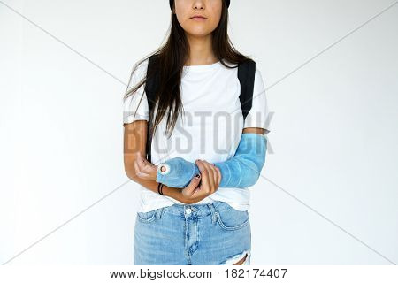 Young adult girl splint arm broken physical injury