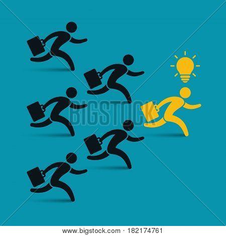 Running businessmen team following leader vector leadership color illustration.