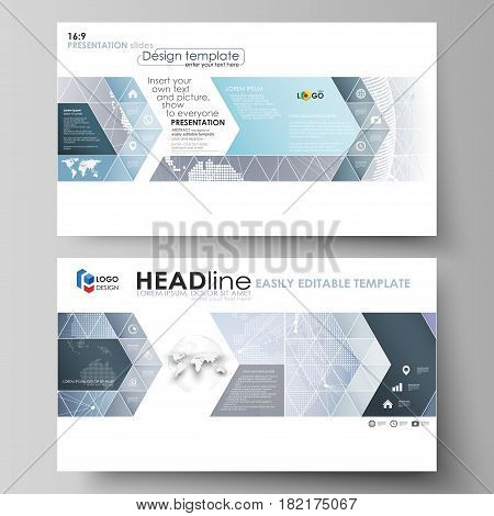 The minimalistic abstract vector illustration of the editable layout of high definition presentation slides design business templates. Abstract futuristic network shapes. High tech background
