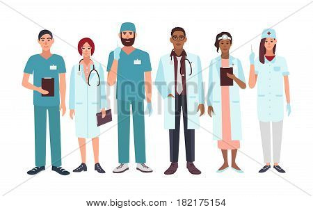 Set of doctors different specialization, nurse, surgeon, therapist, otorhinolaryngologist. Vector illustration characters in flat style. A group man and woman medical workers